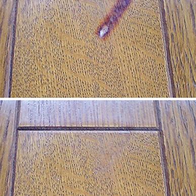 床の焦げ跡